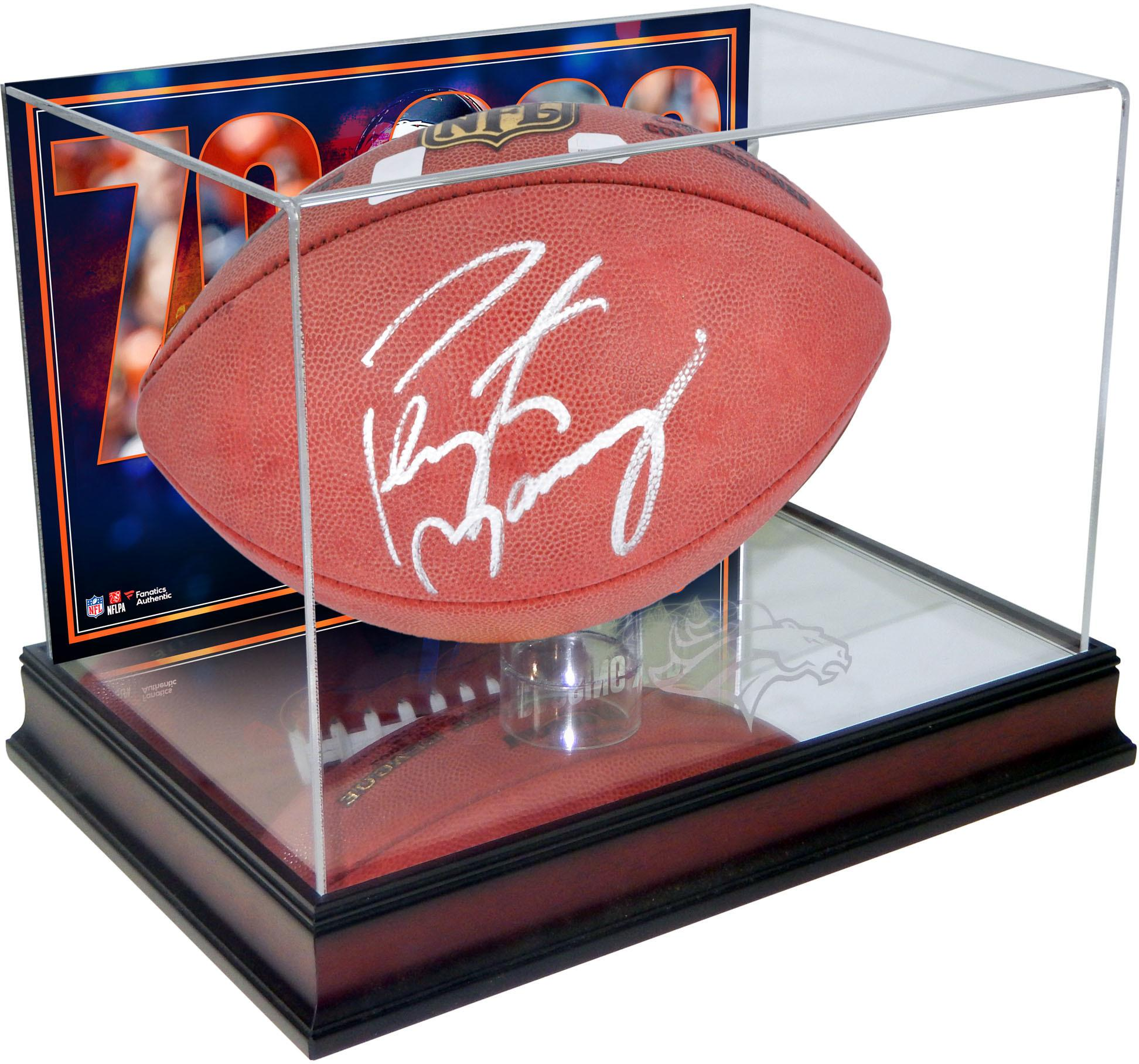 Peyton Manning Denver Broncos Autographed Football with Mahogany Base Football Display Case with 70,000 Passing Yards Back - Fanatics Authentic Certified