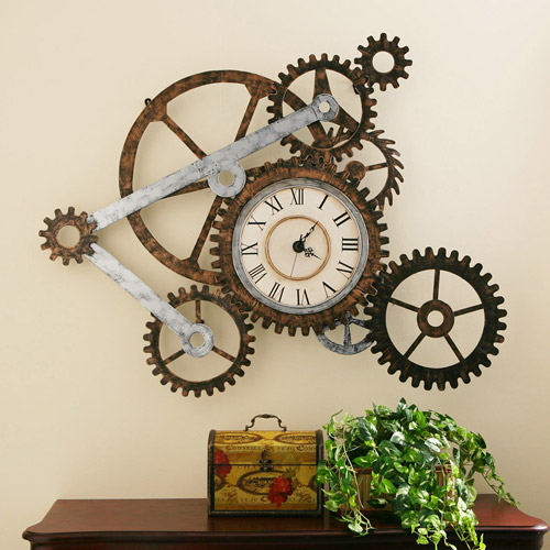 Southern Enterprises Elko Gear Wall Art with Clock