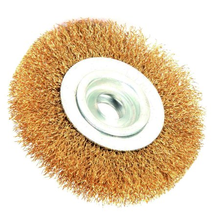 - Robtec 5-Inch X 1/2-Inch Arbor Crimped Brass Coated Steel Wire Wheel Brush