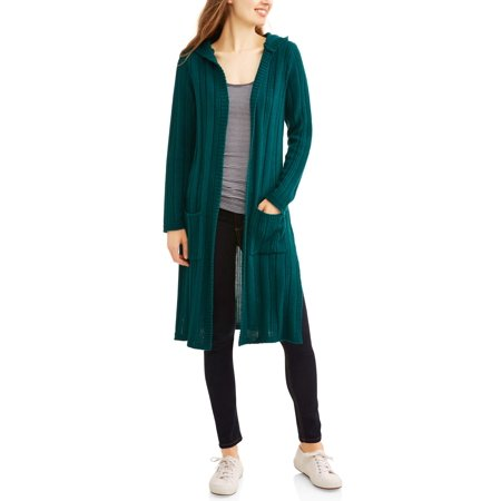 Faded Glory Women's Ribbed Duster Maxi Cardigan With Hoodie