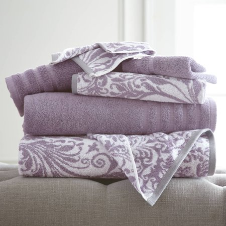 Image of 6 pc Yarn Dyed towel Filigree Swirl Grey Lavender