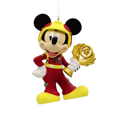 Mickey Mouse Christmas Tree.Red Mickey Mouse Racer Holiday Christmas Tree Ornament