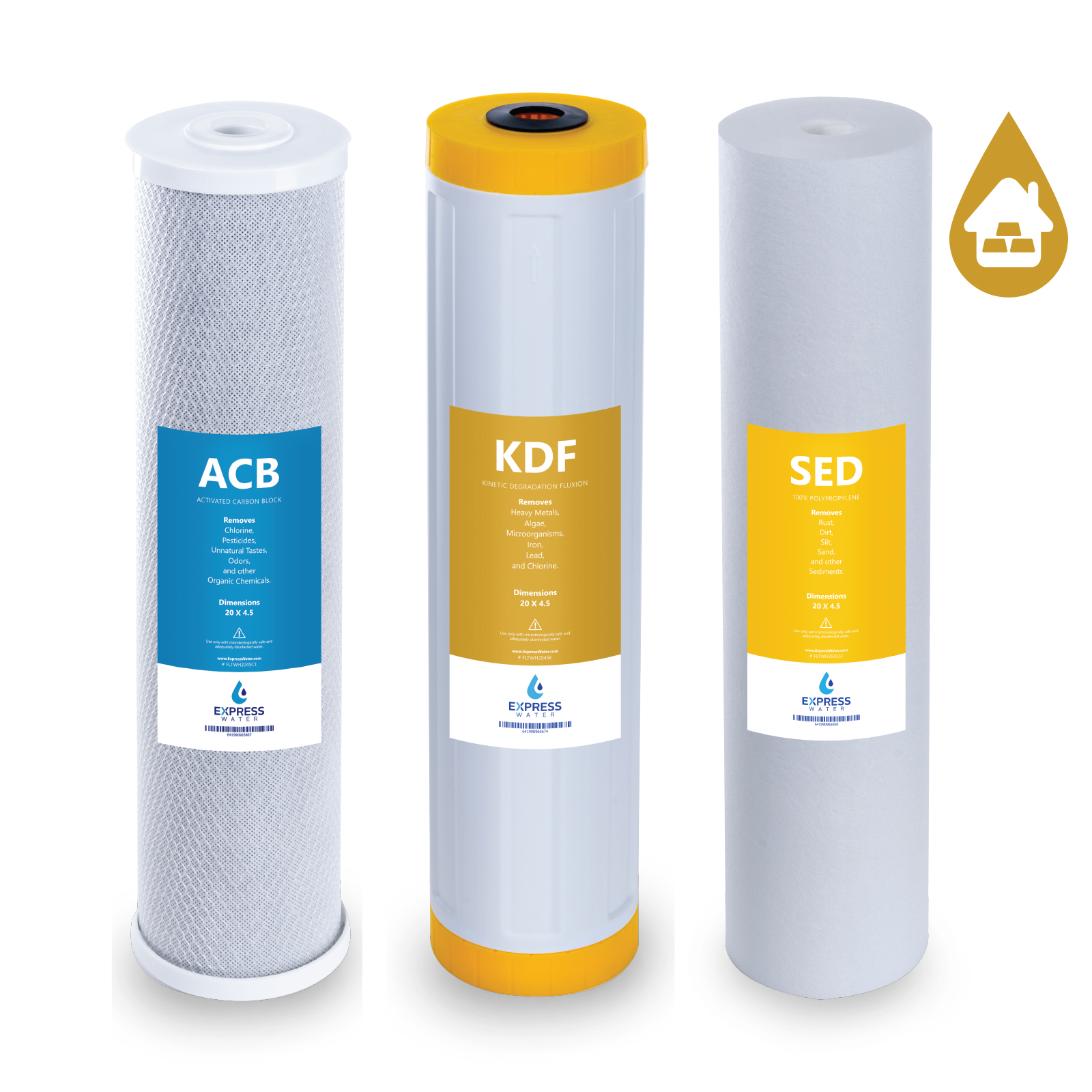 """Express Water – Whole House Heavy Metal Water FIlter Set – 3 Stage Filtration Replacement Kit – Sediment, Carbon Block, KDF High Capacity Cartridge – 5 Micron – 4.5"""" x 20"""" inch"""