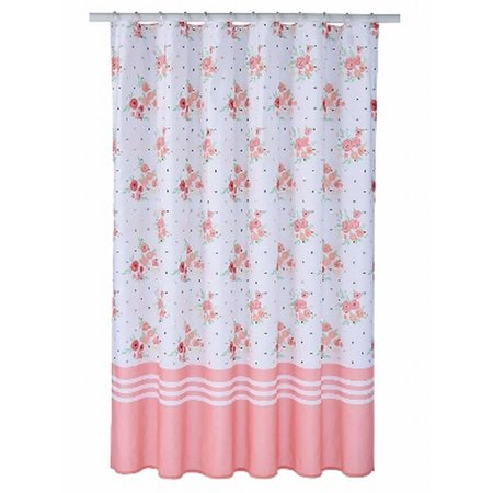 Celebrate Pink Coral Floral Fabric Shower Curtain Flower Bath Decor ...