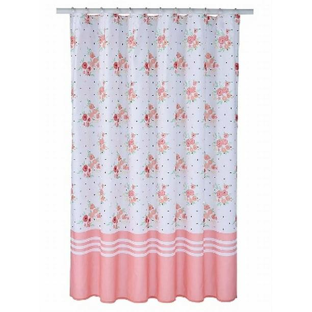 Celebrate Pink Coral Floral Fabric Shower Curtain Flower Bath Decor Walmart Com Walmart Com