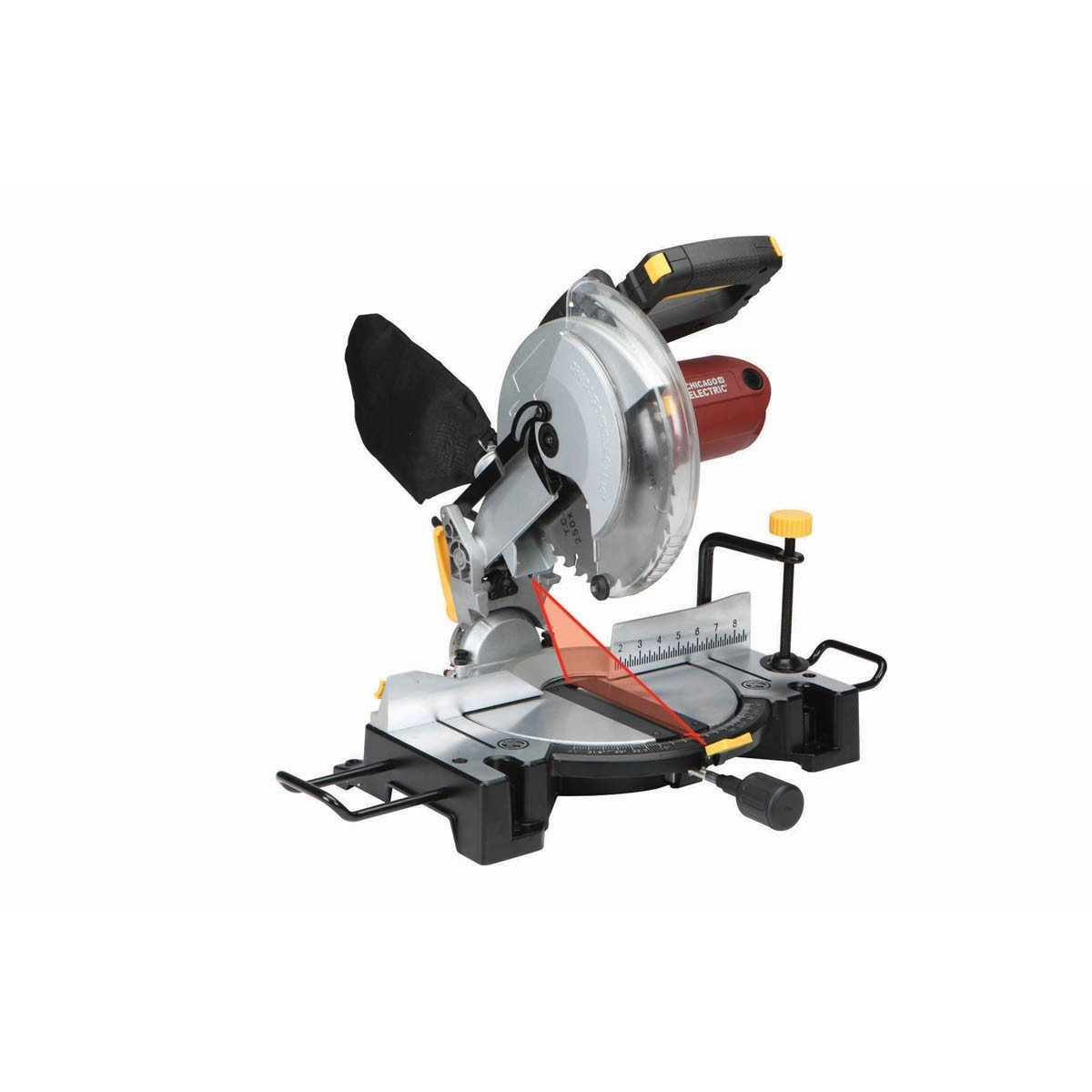 10 Inch Compound Miter Saw with Laser Guide System Bevel 45 deg. left right by
