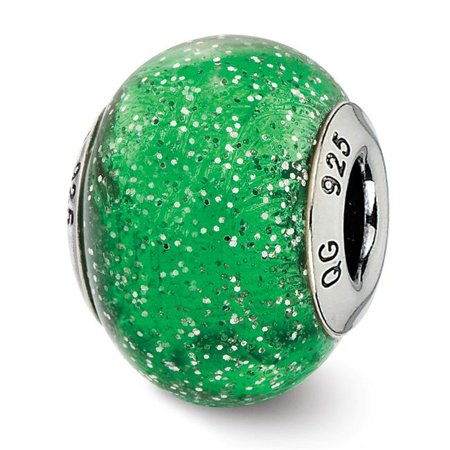 Reflection Beads QRS2548 Sterling Silver Italian Green with Silver Glitter Glass Bead - Polished & Antiqued - image 1 de 1