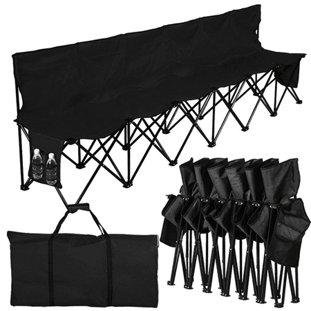 Lightweight Folding Team Sport Bench 6 Seater Sideline Seats with a Carry Bag -- Bigger than (6 Seater Portable Bench)