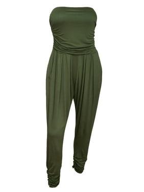 43b4e58542a2 Product Image eVogues Plus Size Jumpsuit Olive