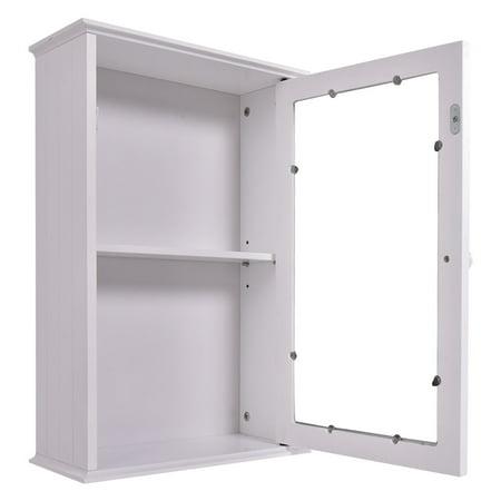 COSTWAY Armoire de Toilette Murale Meuble à Miroir en Bois de Salle de Bain  avec Etagère de Rangement 1 Porte 34 x 15 x 53 cm Blanche