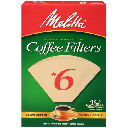(Pack of 6) Melitta Natural Brown Cone Coffee Filter, Size #6, 40 Ct