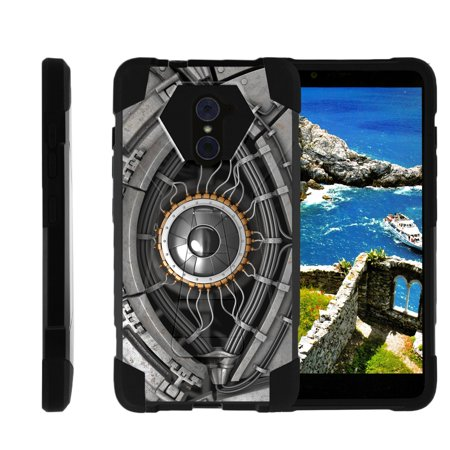 TurtleArmor ® | For ZTE Kirk | Imperial Max | Max Duo | Grand X Max 2 [Dynamic Shell] Dual Layer Hybrid Silicone Hard Shell Kickstand Case - Cyborg Eye (Dynamic Duos Ideas)