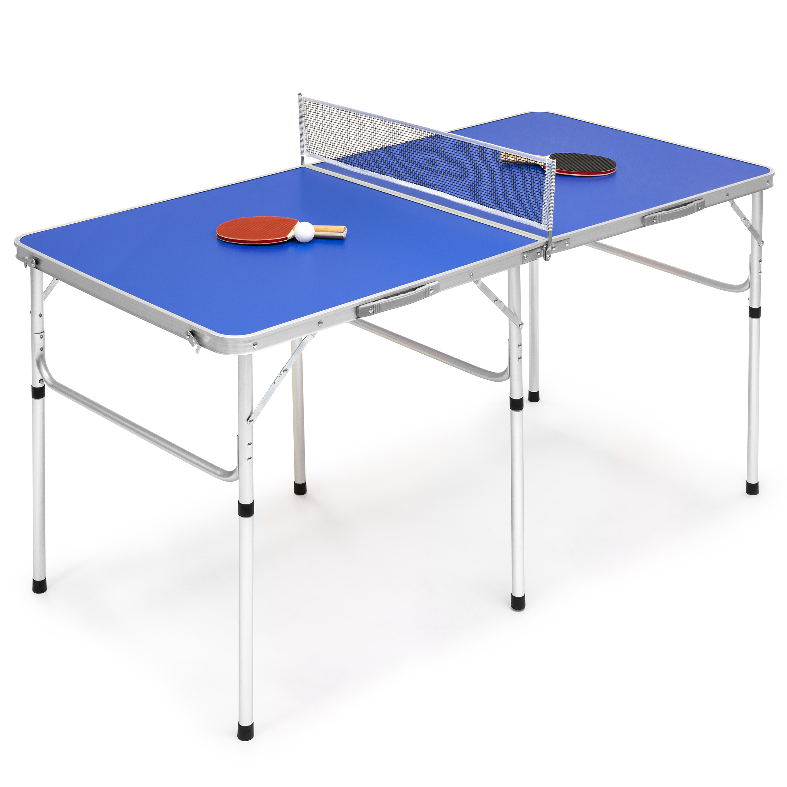 Best Choice Products 58in Indoor Outdoor Portable Folding Ping Pong Table Tennis Game Set w/ 2 Balls, 2 Paddles, Net,  Built-In Handles - Blue
