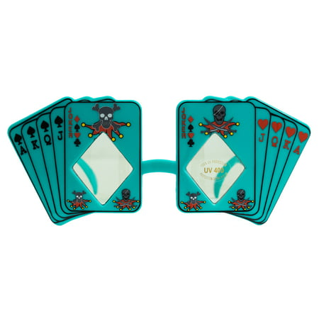 Skull Poker Playing Cards Costume Novelty Sunglasses, Teal Green Frame, OS](Teal Sunglasses)