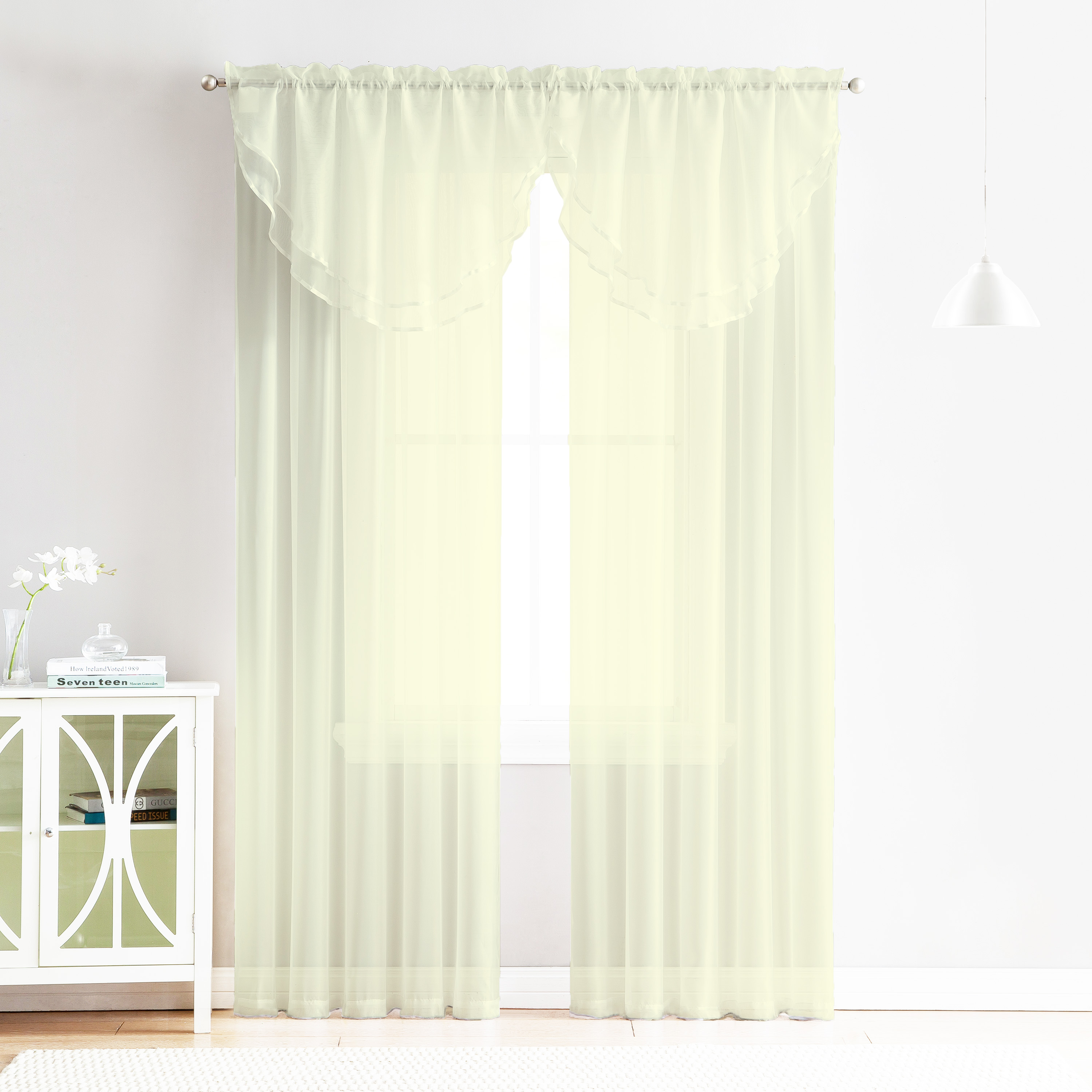 Dining Room Window Valances: 4 Piece Sheer Window Curtain Set For Living Room, Dining