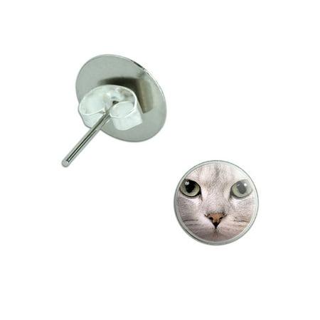 White Cat Green Eyes Pierced Stud Earrings (Cat Eye Stud)