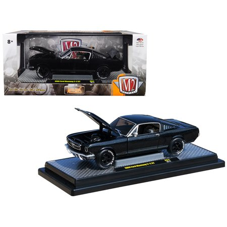 - 1966 Ford Mustang 2+2 GT Black Pearl Metallic Limited Edition to 5,880 pieces 1/24 Diecast Model Car by M2 Machines