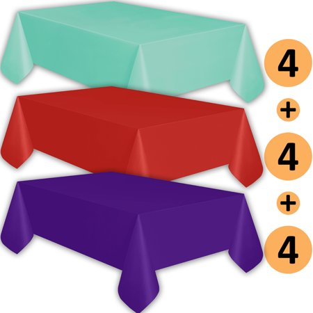12 Plastic Tablecloths Aqua Red Purple Premium
