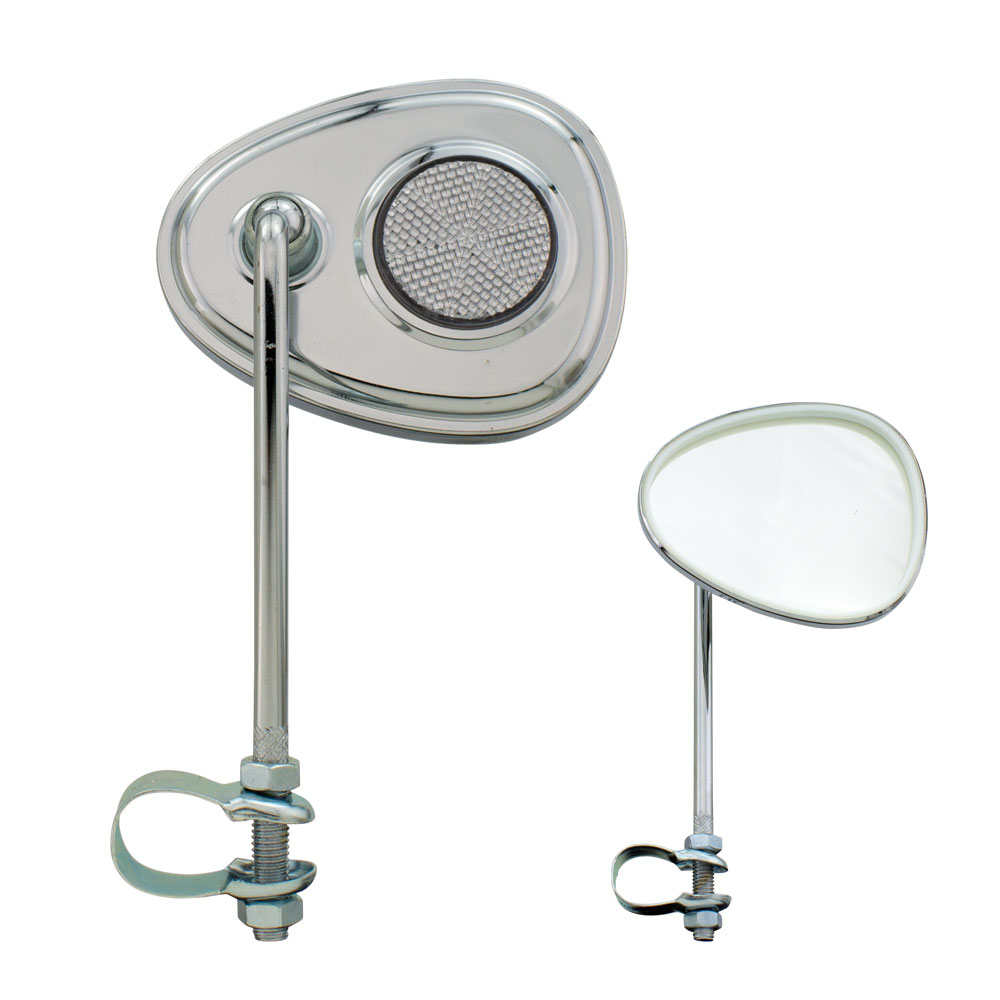 V Bicycle Mirror Chrome, Various Colors (White Reflector)
