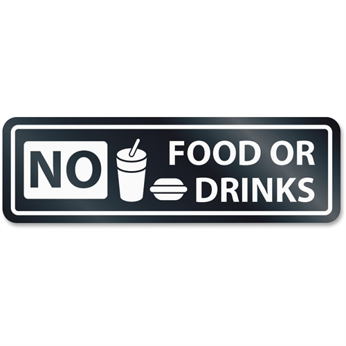 U.S. Stamp & Sign No Food Or Drinks Window Sign 9434