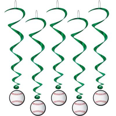Baseball Party Dangling Whirl Party Decorations (5 ct) - Baseball Themed Party