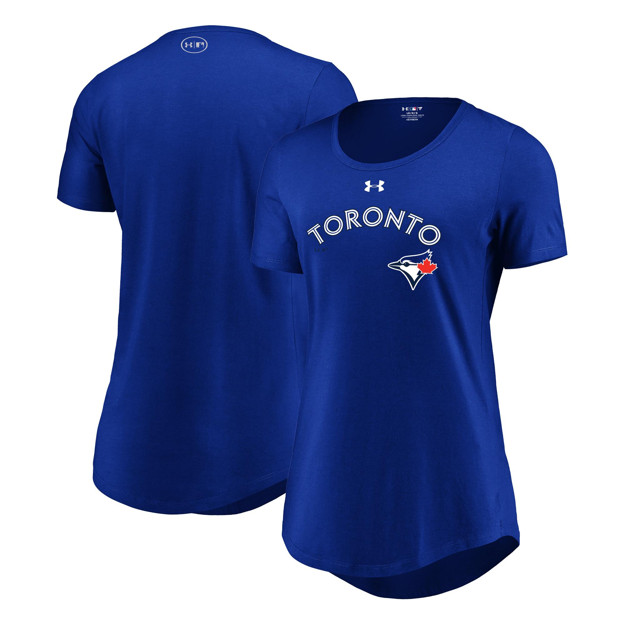 Toronto Blue Jays Under Armour Women's Passion Road Team Font Scoop Performance Tri-Blend T-Shirt - Royal