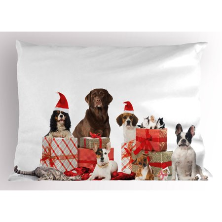 Christmas Pillow Sham Several Pets with Surprise Christmas Presents Adorable Dogs Cats and Rabbits, Decorative Standard Queen Size Printed Pillowcase, 30 X 20 Inches, Brown Red White, by