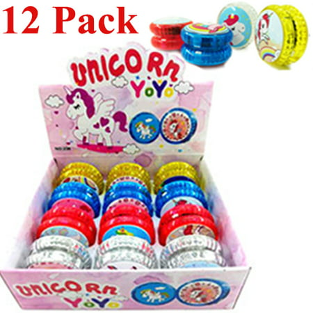 12 Light Up Unicorn Yo-Yo's Party Bag Fillers Favors Flashing Toys Unicornio LED - Halloween Favor Bags Make
