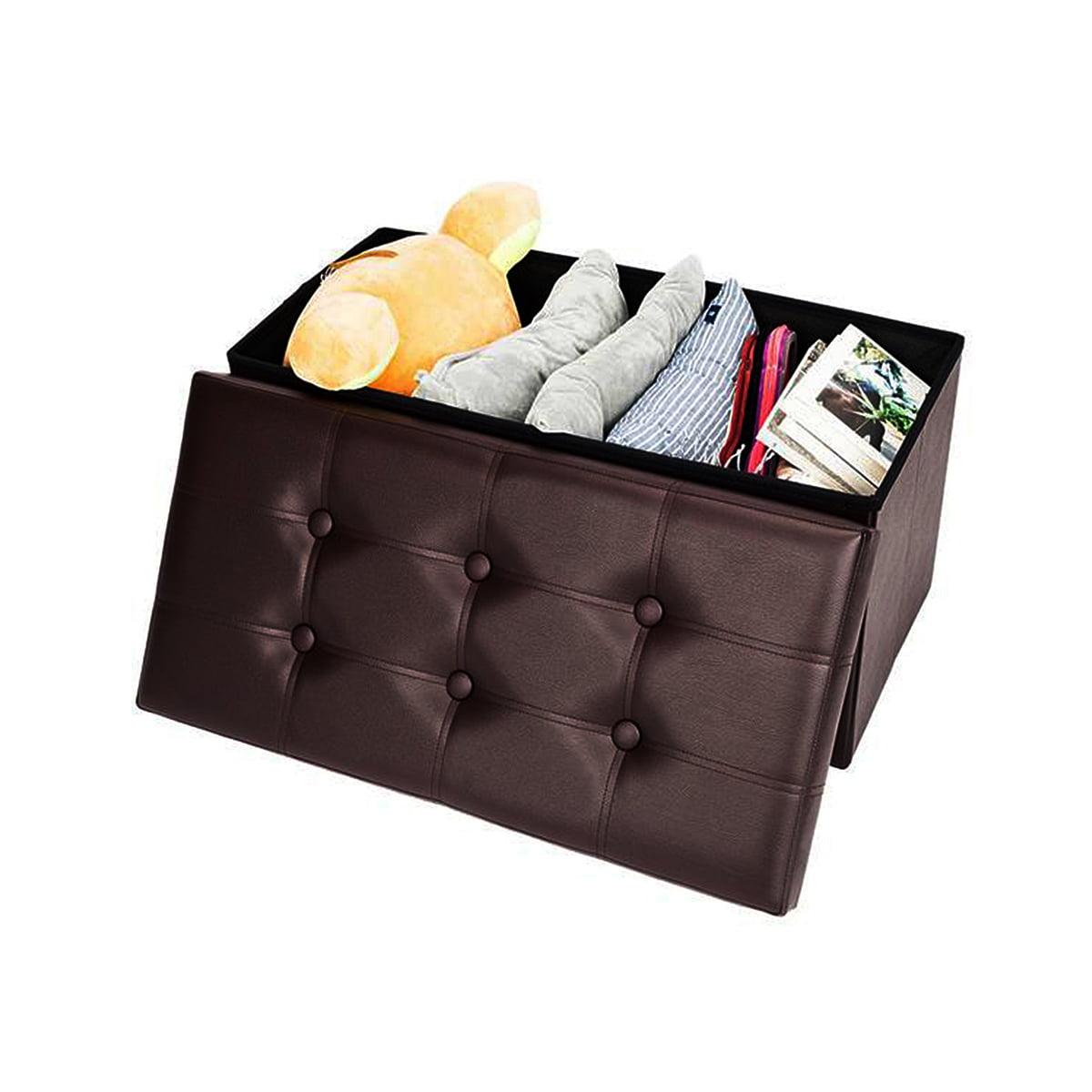 30'' folding storage ottoman bench box lounge leather seat