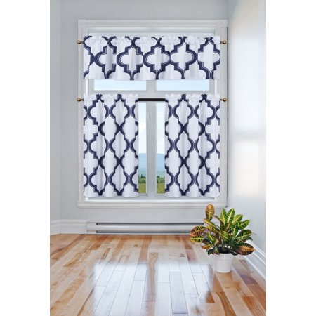 3-Piece 7LO Navy Blue Blackout Rod Pocket Kitchen Curtain Set, Two (2) Geometric Design Tier Panels with One (1) Matching Swag Valance Included (Baby Blue Kitchen Curtains)