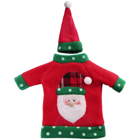 Ugly Christmas Decorations (Handmade Christmas Decorative Ugly Sweater Wine Bottle Cover for Holiday Party Gift Decorations (Santa)