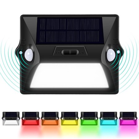 WALFRONT 12 LED Lights IP65 Waterproof Outdoor Wall Mounted Spotlights Balcony Garden Fence Yard Pathway Super Bright Solar Powered Light Motion Sensor Light ()