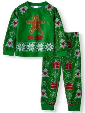 Gingerbread Christmas Long Sleeve Shirt & Joggers, 2pc Pajama Set (Toddler Boys or Toddler Girls Unisex)