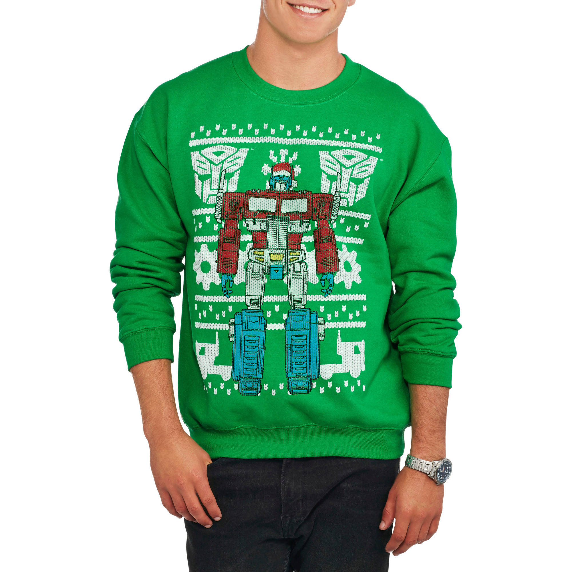 Transformers Autobots Optimus Prime Ugly Christmas Sweater Men's Crew Neck Graphic Sweatshirt