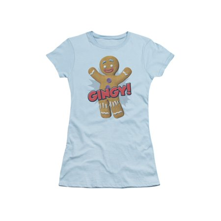 Shrek Animated Children's Comedy Movie Gingy Gingerbread Man Jrs Sheer T-Shirt