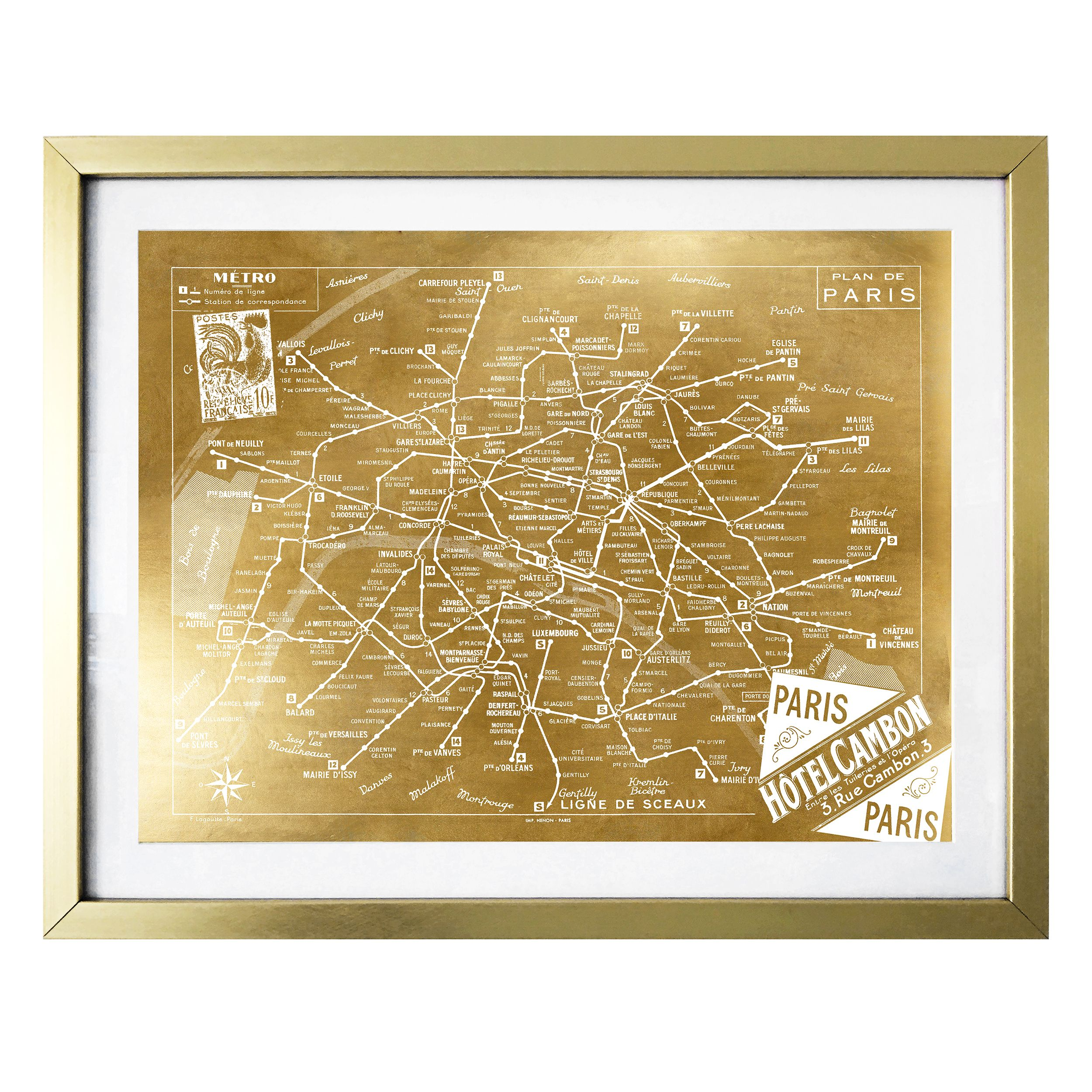 "Click here to buy ""Metro Map of Paris Gold"" Gold Foil Framed Artwork by Art Remdey, LLC."