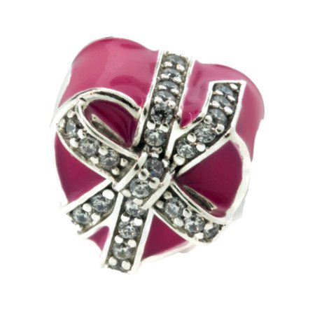 Authentic Hermes Enamel - Authentic Gifts of Love Charm, Magenta Enamel & Clear CZ 792047CZ