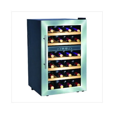 premia deluxe 24 bottles dual zone wine cooler with wood. Black Bedroom Furniture Sets. Home Design Ideas