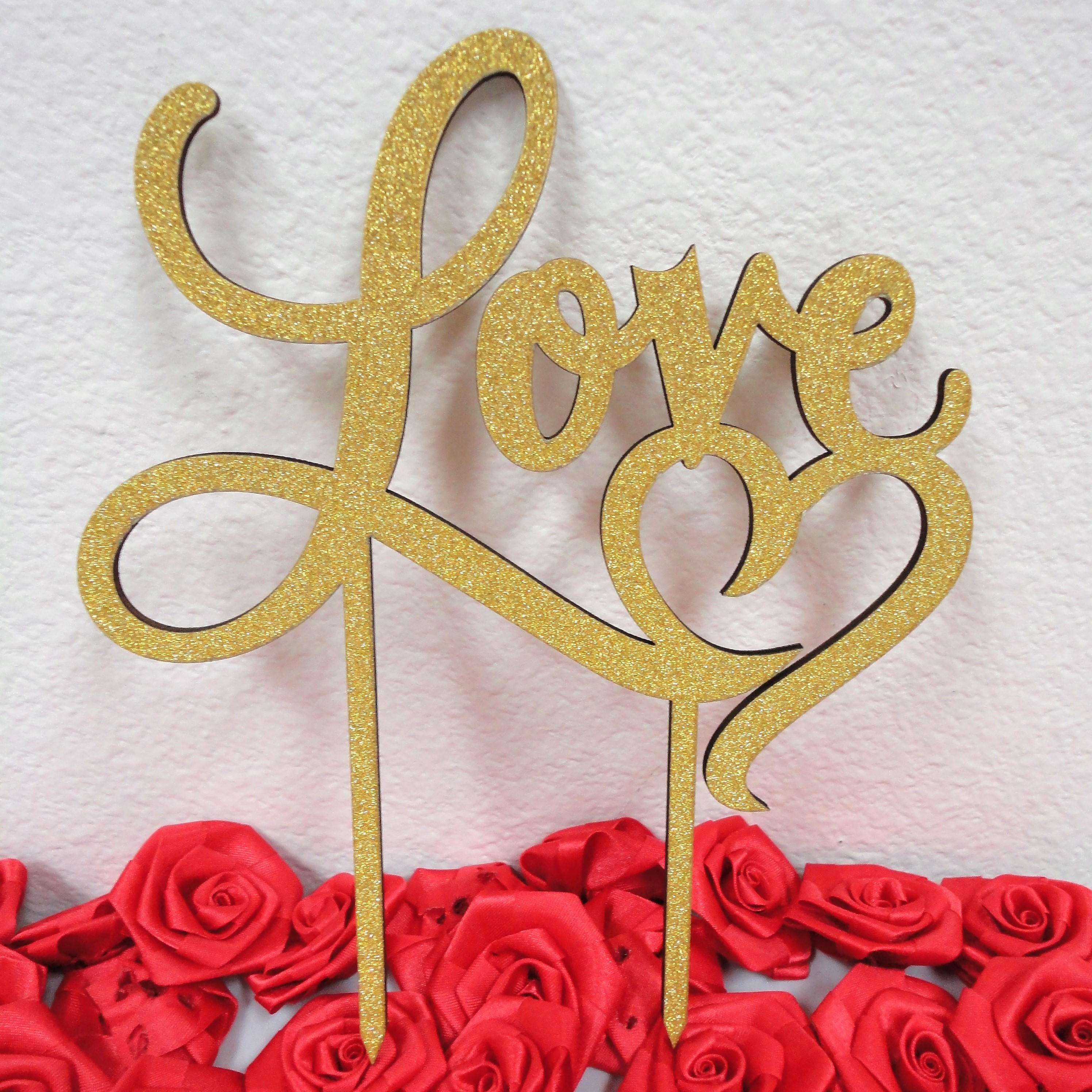 Charmed Love Heart Glittered Cake Topper; Gold