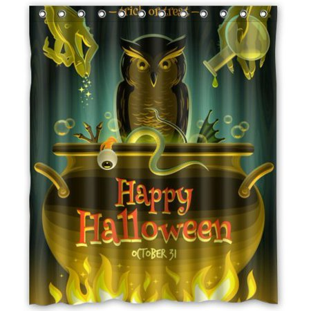 GreenDecor Happy Halloween Night Waterproof Shower Curtain Set with Hooks Bathroom Accessories Size 60x72 inches