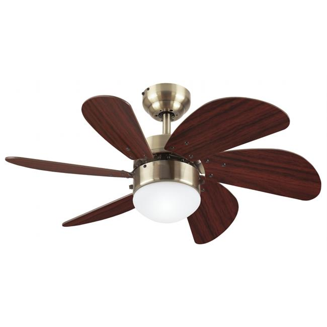 Westinghouse Lighting 7824865 30 in. Antique Brass Six Blade Ceiling Fan With Frost