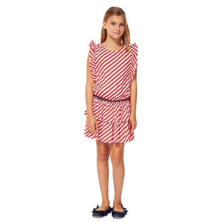 Girl's Striped Tiered Dress