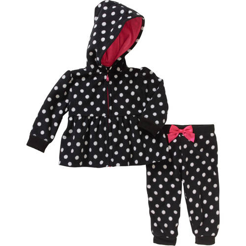 Garanimals Newborn Baby Girl Micro Fleece Hoodie & Pants Outfit Set