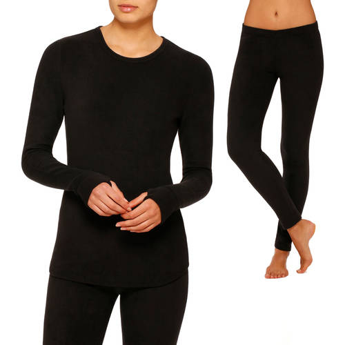ClimateRight by Cuddl Duds Women's Stretch Fleece Warm Underwear Longsleeve Top and Legging Bundle (Sizes S-3X)