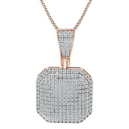 1/2 Carat Round Shape White Natural Diamond Puff Octagon Shape 10k Solid Rose Gold Pendant Necklace (0.5 Cttw)