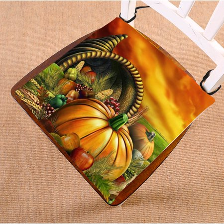 Image of GCKG Thanksgiving Chair Cushion,Happy Thanksgiving Day,Harvest,pumpkin Chair Pad Seat Cushion Chair Cushion Floor Cushion with Breathable Memory Inner Cushion and Ties Two Sides Printing 18x18 inch