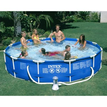 intex 12 39 x 30 metal frame set above ground swimming pool with filter 28211eh. Black Bedroom Furniture Sets. Home Design Ideas