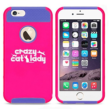 Apple iPhone 6 Plus / 6s Plus Shockproof Impact Hard Case Cover Crazy Cat Lady (Hot Pink-Blue),MIP
