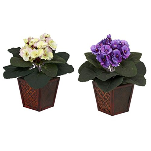 Decorative Natural Looking Artificial African Violet w// Vase Set of 2 Silk Plant