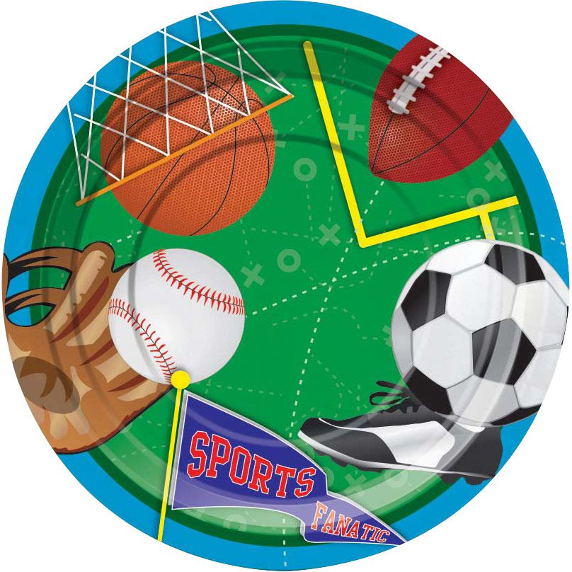 "Sports Party 7"" Cake Plates (8 Pack) - Party Supplies"